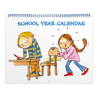 Large Blue School Year Calendar For Kids