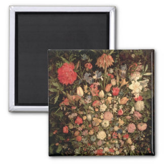 Large bouquet of flowers in a wooden tub magnet