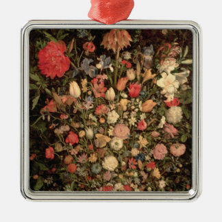 Large bouquet of flowers in a wooden tub metal ornament