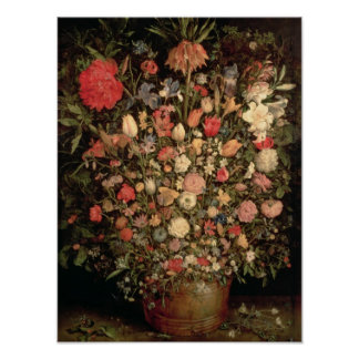 Large bouquet of flowers in a wooden tub poster