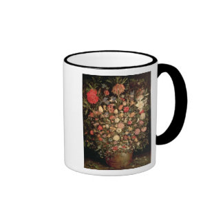 Large bouquet of flowers in a wooden tub ringer mug