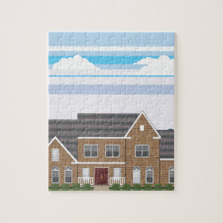 Large Brick house with landscape stylized Jigsaw Puzzle