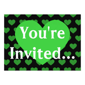 Large Bright Green Heart & Black Background Card