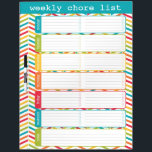 "Large Bright Weekly Chore List Dry Erase Board<br><div class=""desc"">Bright and colorful weekly chore list dry erase board by WRKDesigns.</div>"