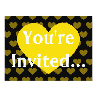 Large Bright Yellow Heart & Black Background Card