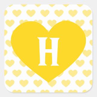 Large Bright Yellow Heart - Monogram Square Sticker