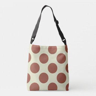 Beach Themed Large brown polka dots circles design on green crossbody bag