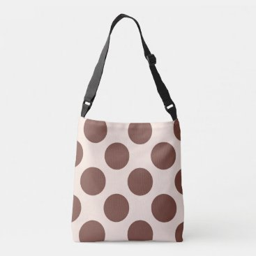 Beach Themed Large brown polka dots circles design on pink crossbody bag