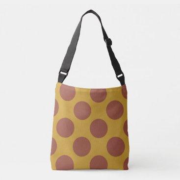 Beach Themed Large brown polka dots circles design on yellow crossbody bag