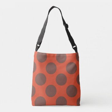 Beach Themed Large brown polka dots design on red crossbody bag