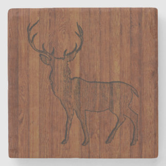 Large Buck carved wood Effect Stone Coaster