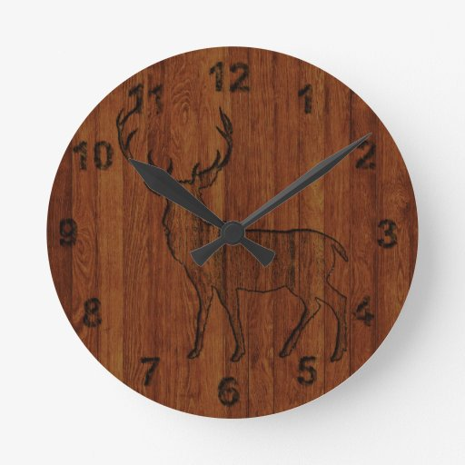 Large buck carved wood effect wall clocks zazzle