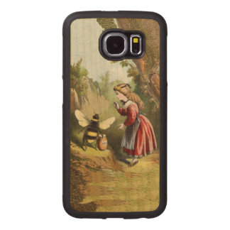 Large Bumble Bee Victorian Girl Honey Pot In Woods Wood Phone Case