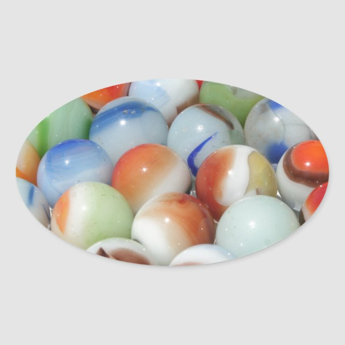 Large Bunch of Marbles Oval Sticker