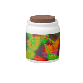 large butterflies, red, candy jars