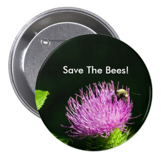 Large Buttons, Save The Bees Button. Pinback Button