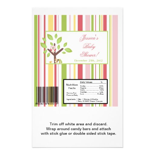 Large Candy Bar Wrapper Love and Nature Girl Woodl Flyers