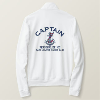 LARGE Captain Personalize it Anchor Emboidered Embroidered Jacket