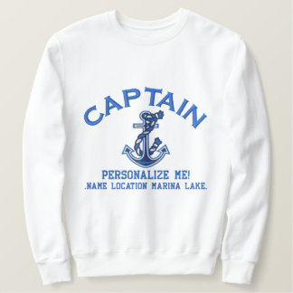 LARGE Captain Personalize it Anchor Emboidered Embroidered Sweatshirt