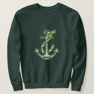 LARGE Captain Smile Anchor Rope Embroidered Design Embroidered Sweatshirt