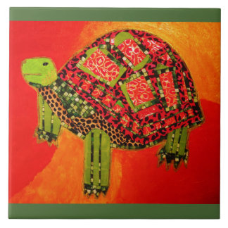 Large Ceramic Photo Tile (6 Inch) with Big Turtle