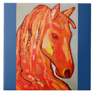 Large Ceramic Photo Tile (6 Inch) with Bold Horse