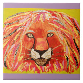 Large Ceramic Photo Tile (6 inch) with Bold Lion