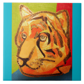 Large Ceramic Photo Tile (6 Inch) with Bold Tiger