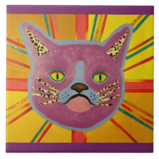 Large Ceramic Photo Tile (6 Inch) with Cool Cat