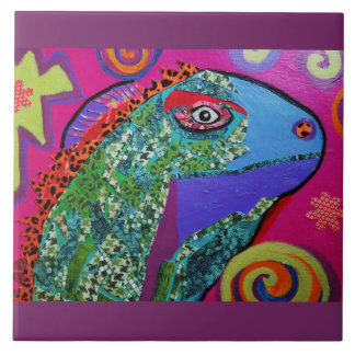 Large Ceramic Photo Tile (6 Inch) with Cool Lizard