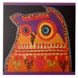 Large Ceramic Photo Tile (6 Inch) with Cool Owl