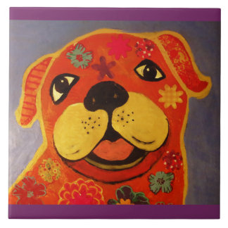Large Ceramic Photo Tile (6 Inch) with Cute Dog