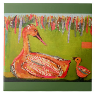Large Ceramic Photo Tile (6 Inch) with Cute Ducks