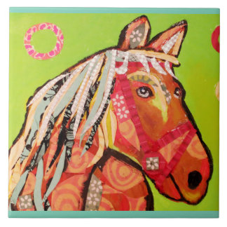 Large Ceramic Photo Tile (6 inch) with Cute Horse