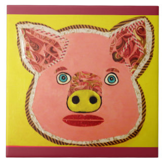 Large Ceramic Photo Tile (6 Inch) with Pretty Pig