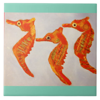 Large Ceramic Photo Tile (6 Inch) with Sea Horses
