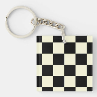 Large Checker Board Pattern Double-Sided Square Acrylic Keychain