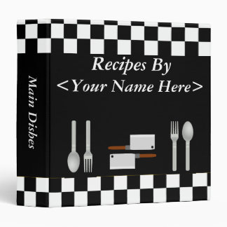 Large Checkerboard Personalized Recipe Binder