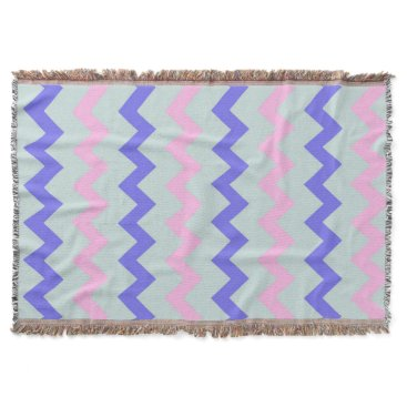 Beach Themed Large chevron pattern pink blue throw blanket