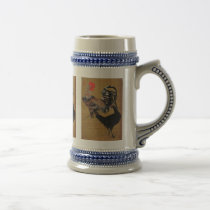 Large chicken male and female figure, Itoh Gyakucy Beer Stein
