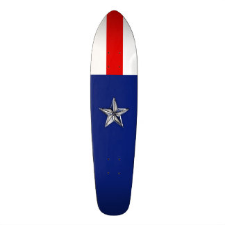 Large Chrome Like Silver Star on Festive Colors Skateboard