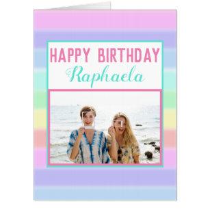 Large Colorful Custom Photo Happy Birthday Card