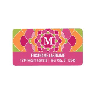 Large Colorful Flower Design with Monogram Label