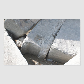 Large concrete building blocks closeup rectangular sticker