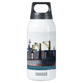 Large Container Ship At Anchor Insulated Water Bottle