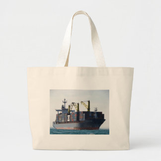 Large Container Ship At Anchor Large Tote Bag