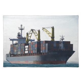 Large Container Ship At Anchor Placemat