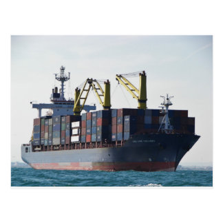 Large Container Ship At Anchor Postcard