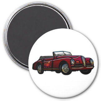 Large Convertible Classic Car 3 Inch Round Magnet