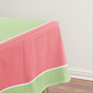 Large Coral Pink And Mint Green Stripe Tablecloth